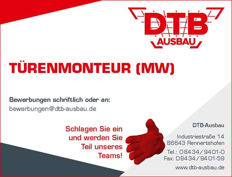 Stellenausschreibung Türenmonteur für DTB