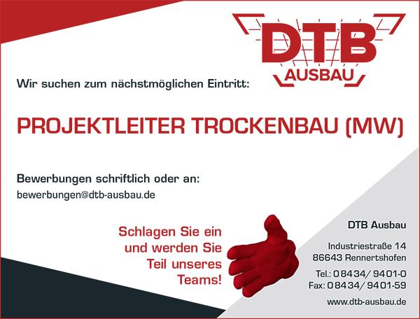 Stellenausschreibung als Projektleiter Trockenbau bei DTB - Karriere - Job