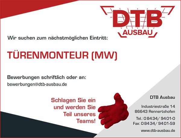 Stellenausschreibung als Türenmonteur bei DTB - Karriere - Job