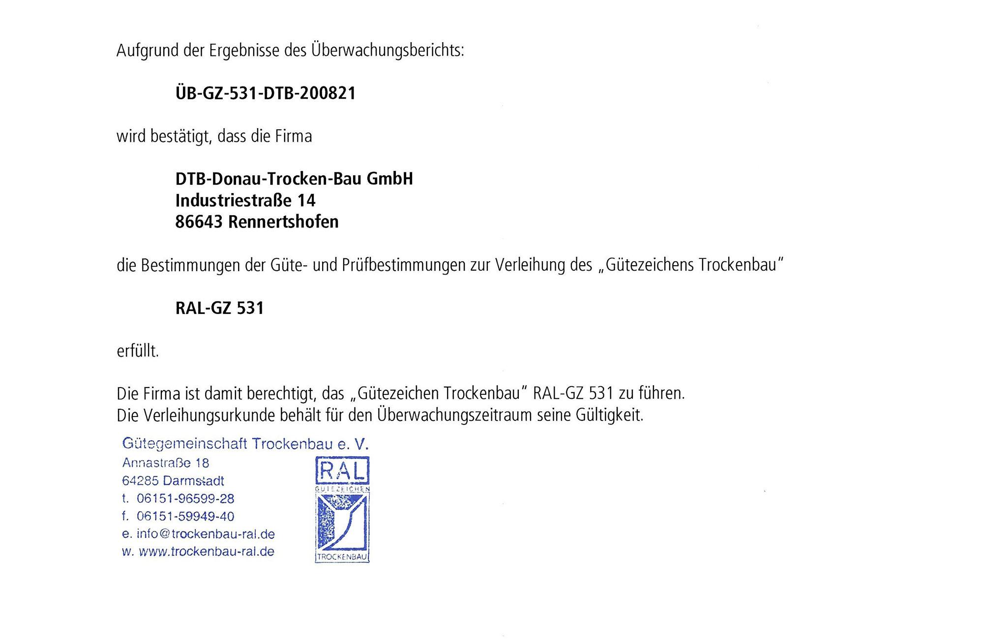 """""""RAL-GÜTEZEICHEN TROCKENBAU"""" FÜR DTB AUSBAU"""